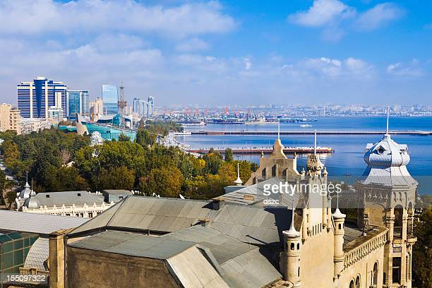 view of Baku from Maiden Tower  cityscape and Caspian sea