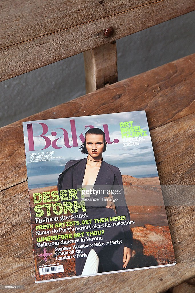 A view of Baku Magazine at Soho Beach House. Baku Magazine is dedicated to promoting contempory art art and culture from Azerbaijan during Miami Art Basel at Soho Beach House on December 4, 2012 in Miami Beach, Florida.