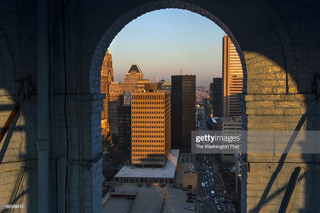A view of Baltimore's skyline is shown through the arches of the Bromo Seltzer tower Wednesday February 14, 2013 in Baltimore, MD. Tours of the clock tower are held twice monthly, but at this time there is no access beyond the clock. Panoramic views of the city can be had from the artist's studios that are also open twice a month.