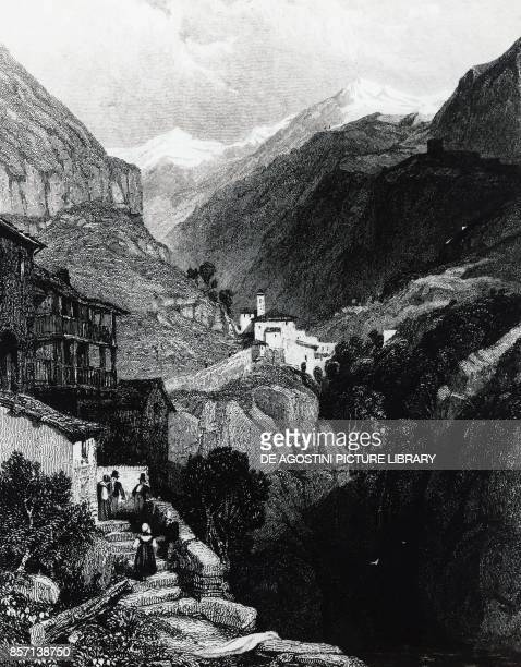 View of Bard fort in Aosta valley engraving Italy 19th century