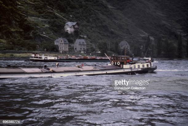 A view of barges on a cruise down the Rhine river on September 7 1963 in Bad Breisig West Germany