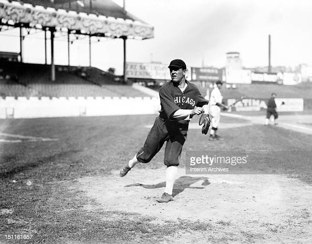 View of baseball player Eddie Cicotte pitcher for the Chicago White Sox as he warms up before a game against the New York Giants New York New York...