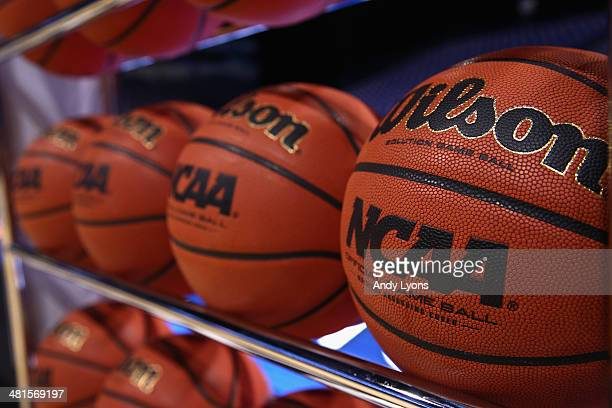 A view of basketballs prior to the midwest regional final game between the Kentucky Wildcats and the Michigan Wolverines during the 2014 NCAA Men's...
