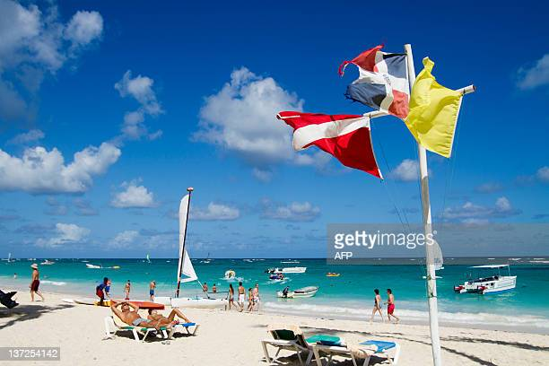 View of Bavaro beach in Punta Cana Dominican Republic on January 16 2012 Tourism is the main industry in Dominican Republic and Punta Cana is one of...