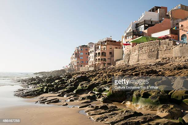 View of beach and coast, Taghazout, Morocco