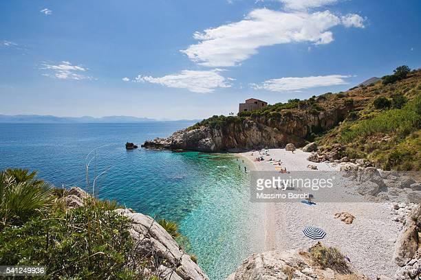 View of beach and coastline, San Vito lo Capo, Sicily, Italy
