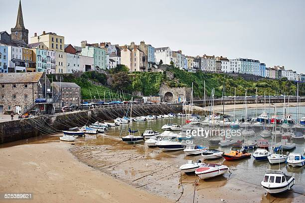 View of beach, harbor and boats, Tenby, Wales