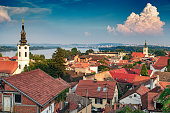 View of Belgrade and Zemun in Serbia from Gardos Tower, panorama of the Danube River with Veliko Ratno Ostrvo in the background in summer