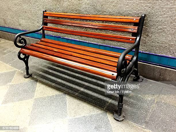 View Of Bench On Sidewalk