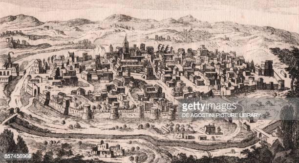 View of Benevento Campania Italy copper engraving 161x89 cm from Lo stato presente di tutti i paesi e popoli del mondo naturale politico e morale con...
