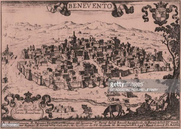View of Benevento Campania Italy etching ca 14x18 cm from Il Regno di Napoli in prospettiva by Giovanni Battista Pacichelli published by Antonio...