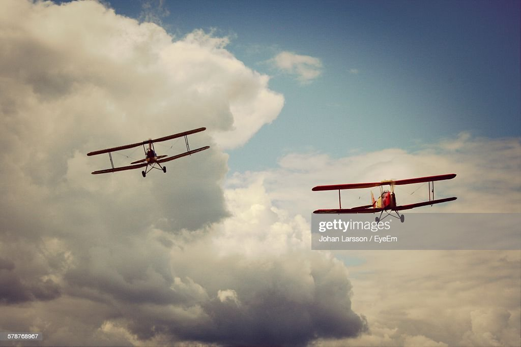 View Of Biplanes In Air
