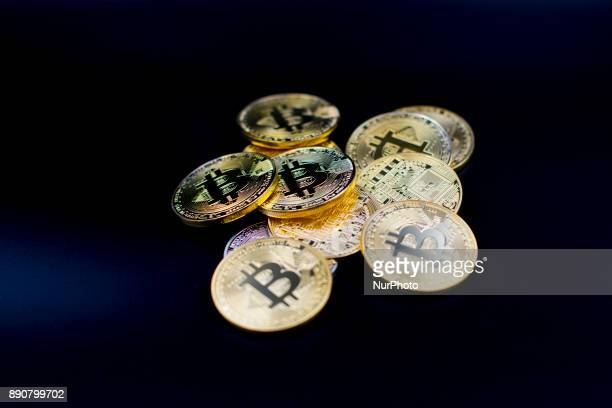 A view of Bitcoin physical coins Futures on Bitcoins increased by more than 20% after their American debut on the Chicago Cboe Futures Exchange