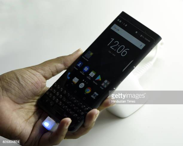 A view of Blackberry KEYone limited edition black mobile phone in India after launched by Senior Vice President Blackberry Alex Thurber and Hardeep...