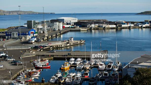 A view of boats in the harbour basin on September 7 2013 in Torshavn Faroe Islands