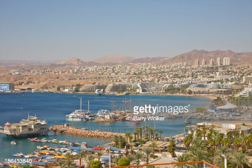 View of boats, Red Sea hotels and Eilat hills