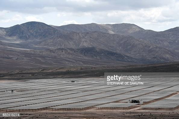 TOPSHOT View of Bolero solar power plant owned by French company EDF Energies Nouvelles in Atacama desert Antofagasta region Chile on January 22...