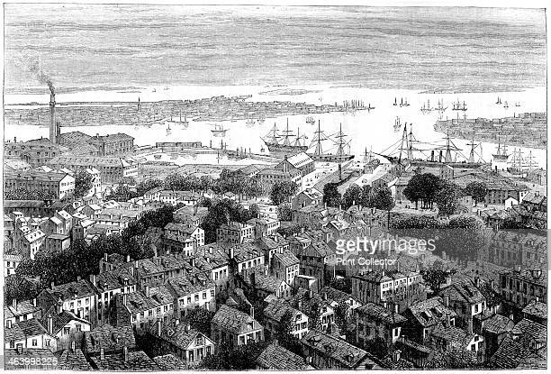 View of Boston from Bunker's Hill Massachusetts c1770s A print from Cassell's History of the United States by Edmund Ollier Volume II Cassell Petter...