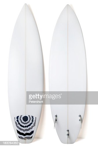 A view of both sides of a white surfboard