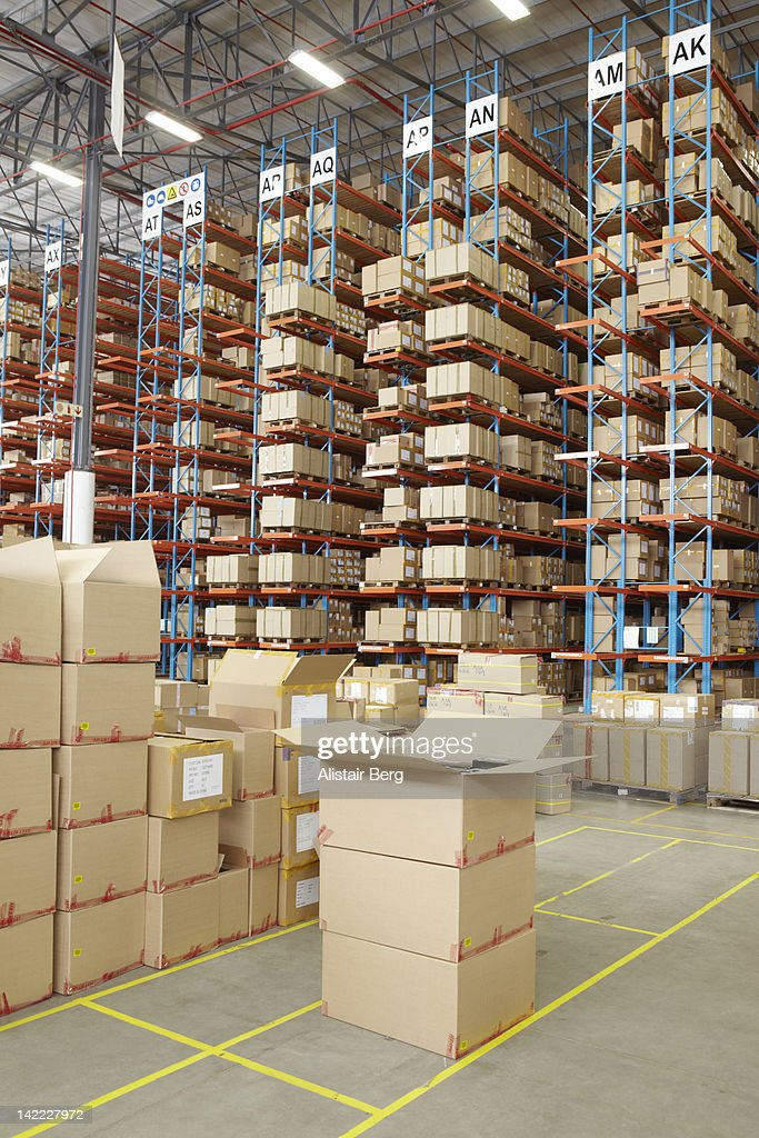 View of boxes inside a large distribution warehous