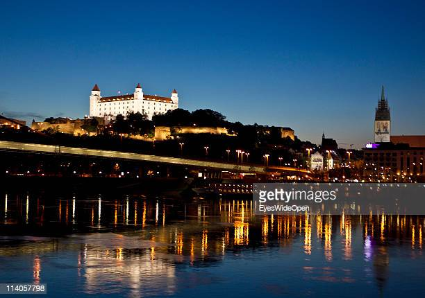 A view of Bratislava Castle above the River Danube on May 10 2011 in Bratislava Slovakia The castle was built in Gothic and Renaissance style and...