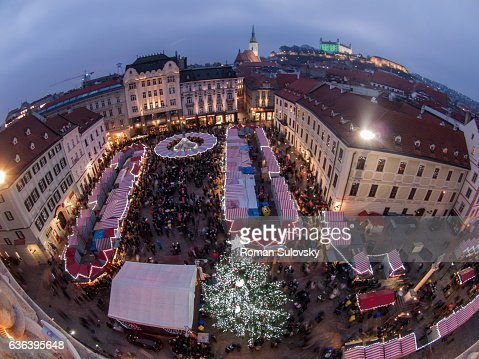 view of Bratislava christmas market from above : ストックフォト