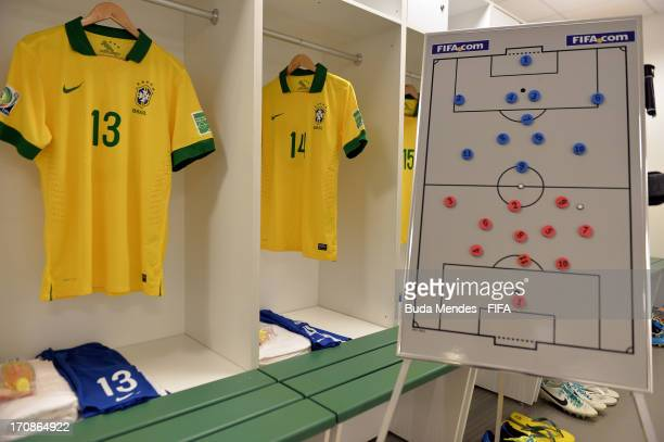View of Brazil team kit and a tactics board in the dressing room prior to the FIFA Confederations Cup Brazil 2013 Group A match between Brazil and...