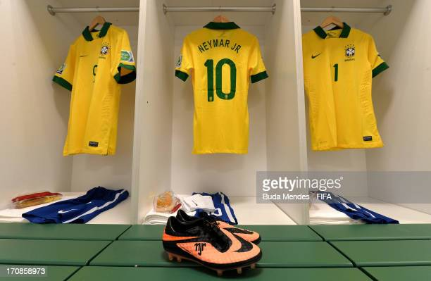 View of Brazil team kit and boots in the dressing room prior to the FIFA Confederations Cup Brazil 2013 Group A match between Brazil and Mexico at...
