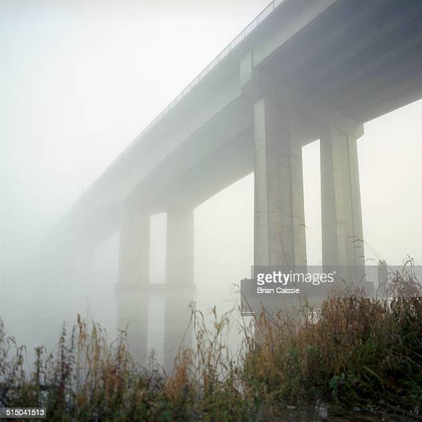 View of bridge at foggy morning, Richmond, British Columbia, Canada