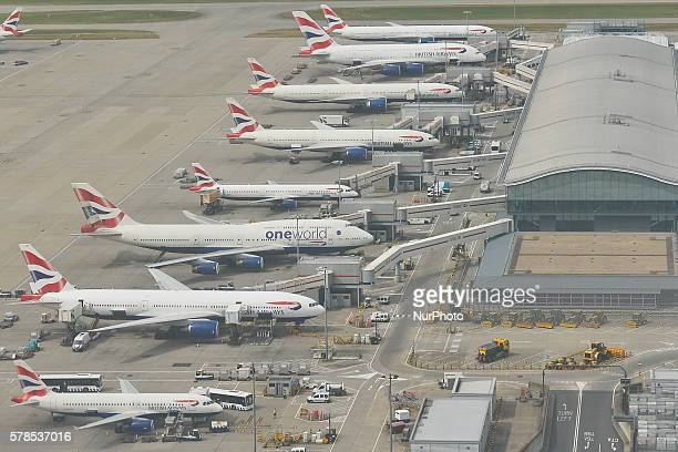 A view of British Airways planes the flag carrier and the largest airline in the United Kingdom at its main hub at London Heathrow Airport On...