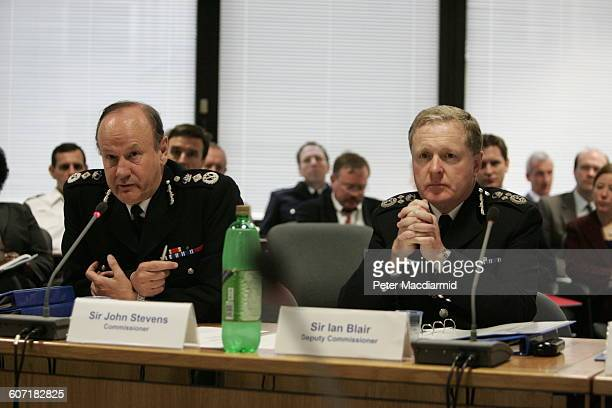 View of British Metropolitan Police Commissioner Sir John Stevens and Deputy Commissioner Sir Ian Blair at a press conference London England July 8...