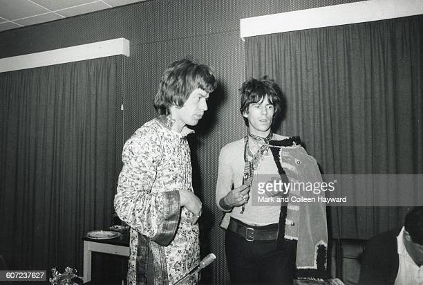 View of British musicians Mick Jagger and Keith Richards of the group the Rolling Stones in Olympic Studios London England May 23 1967 They were in...