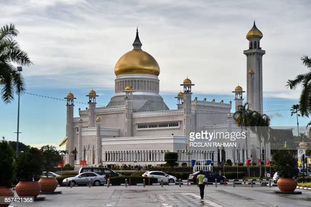 A view of Brunei's Sultan Omar Ali Saifuddin mosque in Bandar Seri Begawan on October 4 2017 Brunei will mark its Sultan's Hassanal Bolkiah 50th...