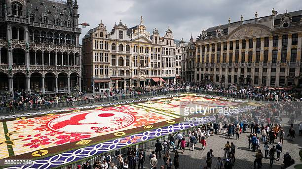 A view of Brussels Flower Carpet 2016 in Brussels Belgium on August 12 2016 The carpet features some 600000 flowers and measures 75 metres long by 24...