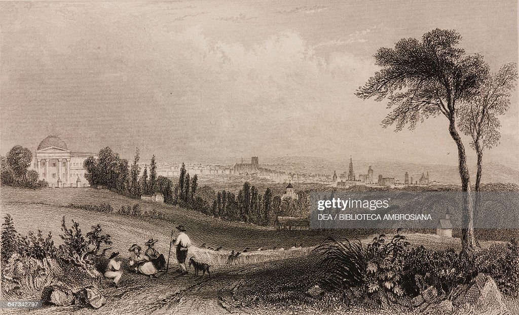 View of Brussels from Royal Palace of Laken Belgium engraving from a drawing by William Henry Bartlett from Vues de la Hollande et de la Belgique by...