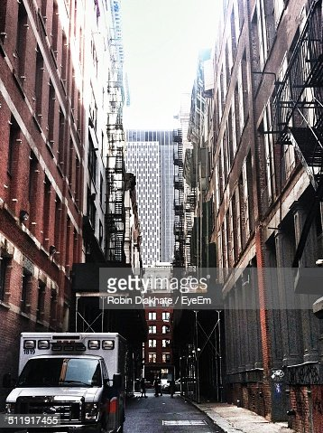 View Of Buildings And Street In City Stock Photo Getty Images