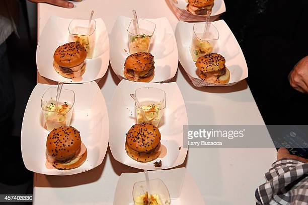 View of burgers at the Blue Moon Burger Bash presented by Pat LaFrieda Meats hosted by Rachael Ray during the Food Network New York City Wine Food...