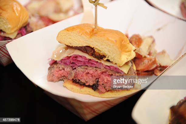 View of burgers by Chef Robert Irvine at the Blue Moon Burger Bash presented by Pat LaFrieda Meats hosted by Rachael Ray during the Food Network New...
