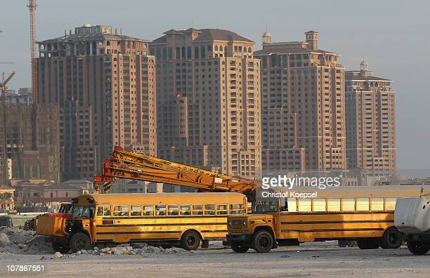 View of bus that brings foreign workers to to their working place on January 4 2011 in Doha Qatar The International Monetary Fund recently reiterated...