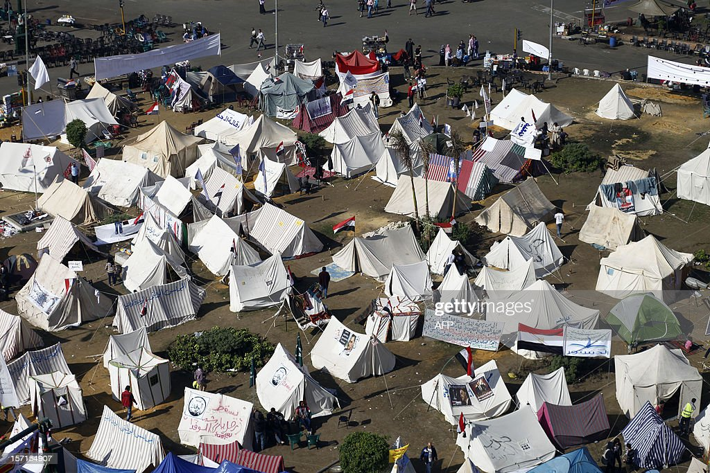 A view of Cairo's Tahrir Square taken on November 29, 2012 shows tents set up by protesters on the third day of protest over Egyptian President Morsi's decision to grant himself sweeping powers until the new constitution is ratified in a referendum. AFP PHOTO / MAHMOUD KHALED