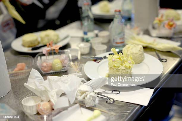 A view of cakes being made at Cake Decorating Master Class hosted by Sylvia Weinstock at Institute of Culinary Education on October 16 2016 in New...