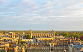Panoramic view of several College buildings in Cambridge, seen from the tower of St. John's College