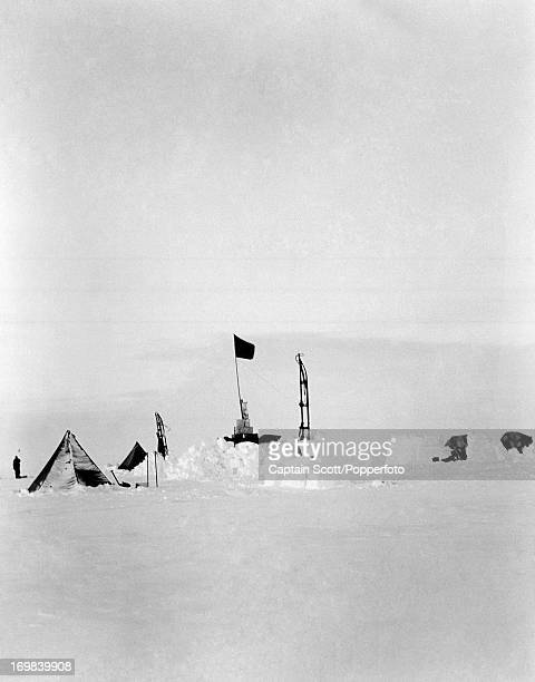 A view of Camp 12 One Ton Depot on the Great Ice Barrier photographed during the last tragic voyage to Antarctica by Captain Robert Falcon Scott on...