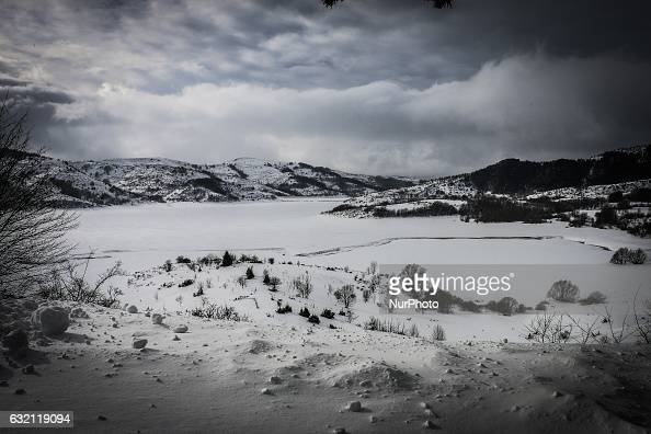 A view of Campotosto Italy on January 19 2017 A great deal of snow has fallen in the area which was hit by four quakes on Wednesday Four strong...