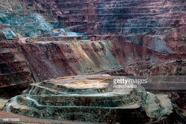 View of Canadian Goldcorp gold mine at the Los Filos complex in Carrizalillo Guerrero State Mexico on November 19 2015 The villagers who live near...