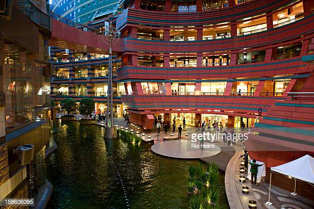 View of Canal City in Hakata district the biggest shopping mall in Fukuoka City built around an artificial canal running off the Naka river