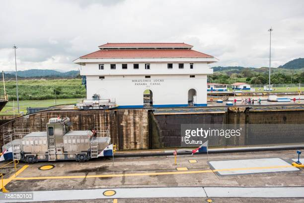 View of canal lock on the Panama canal, Miraflores, Panama