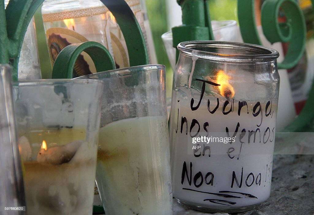 View of candles in front of the house of Mexican singer Juan Gabriel in Ciudad Juarez Mexico on August 29 2016 Mexican singer composer and producer...