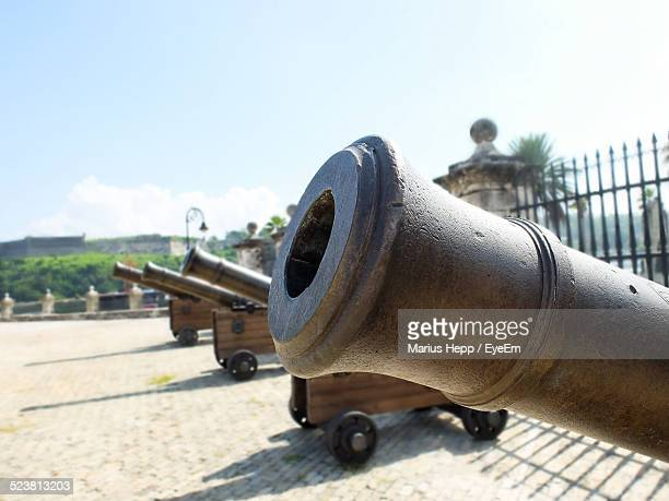 View Of Cannons Standing In Row