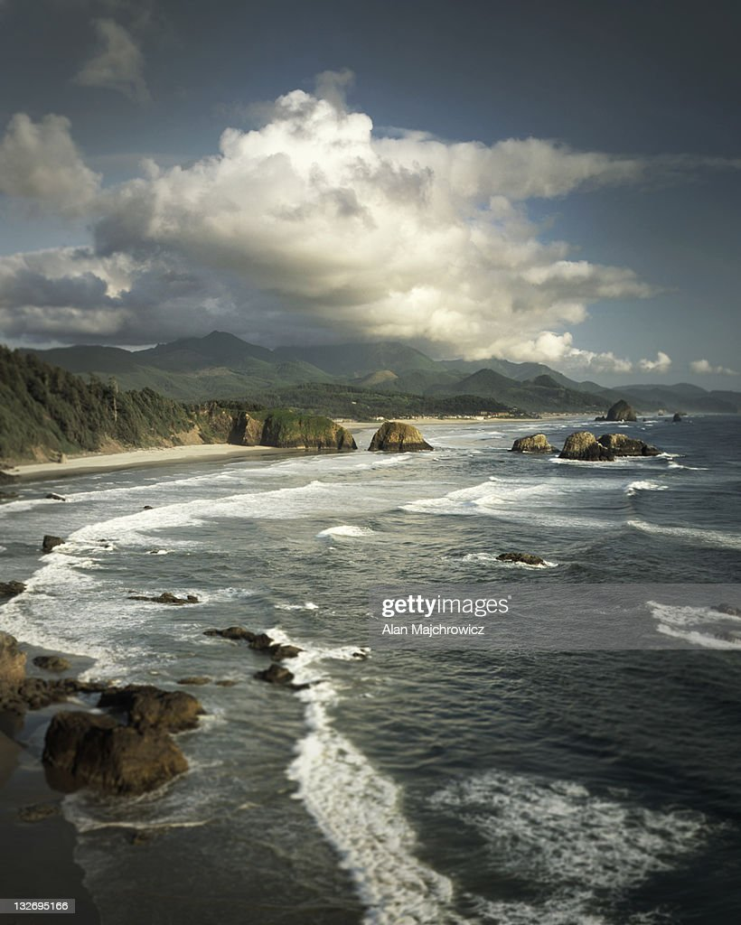 View of Canon Beach from Ecola State Park Oregon